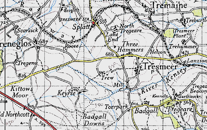 Old map of Three Hammers in 1946