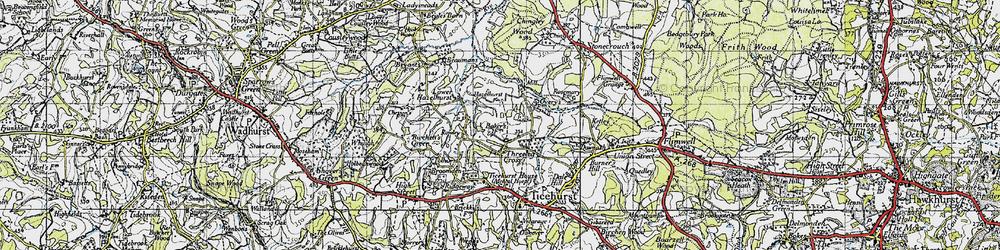 Old map of Three Leg Cross in 1940