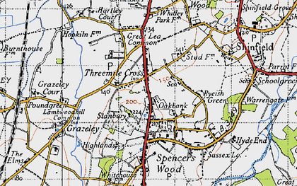 Old map of Three Mile Cross in 1940