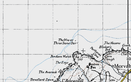 Old map of Three Stone Oar in 1946