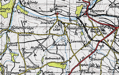 Old map of Threewaters in 1946