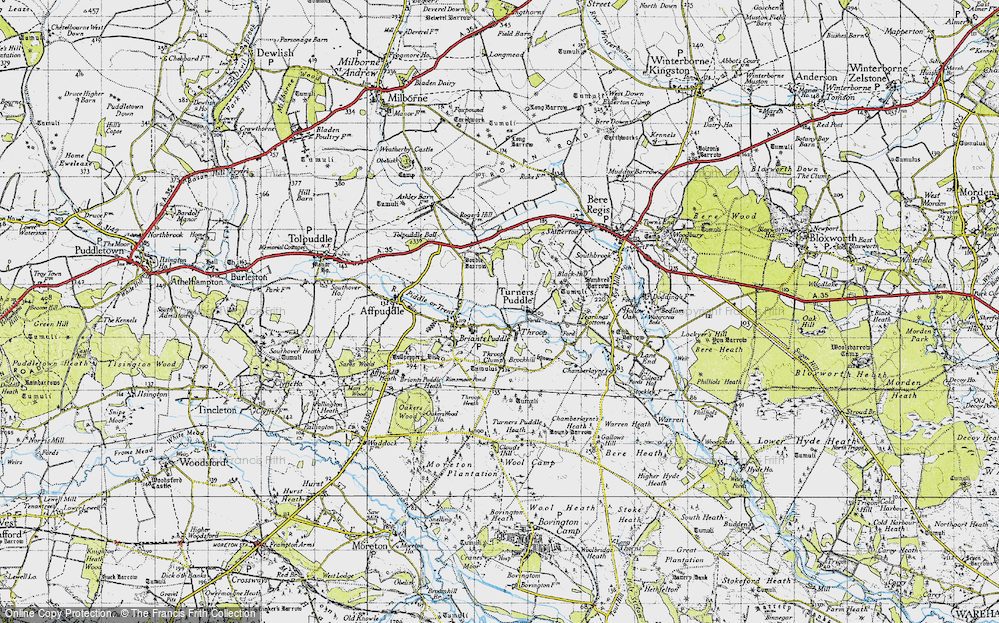 Old Map of Historic Map covering Tonerspuddle Heath in 1945