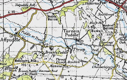 Old map of Throop in 1945