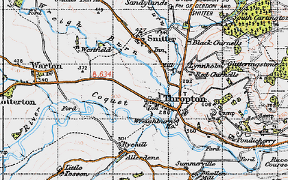 Old map of Thropton in 1947