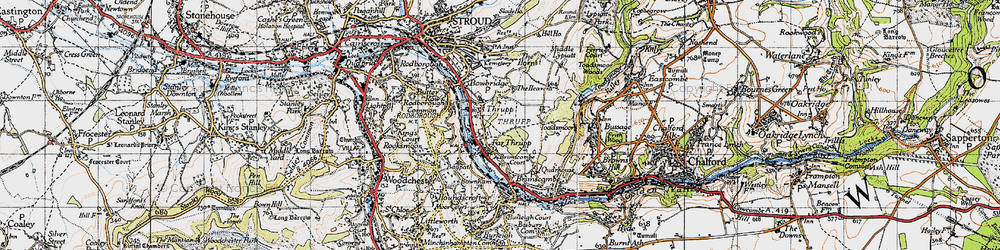 Old map of Thrupp in 1946