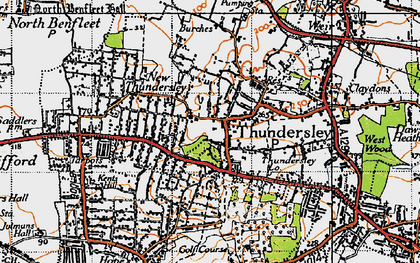 Old map of Thundersley in 1945
