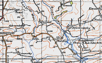 Old map of Thurdon in 1946