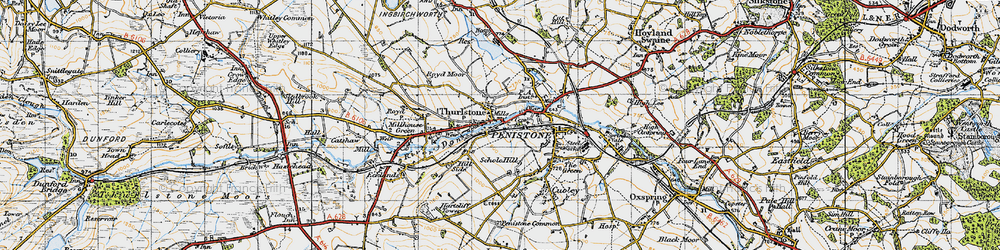 Old map of Thurlstone in 1947