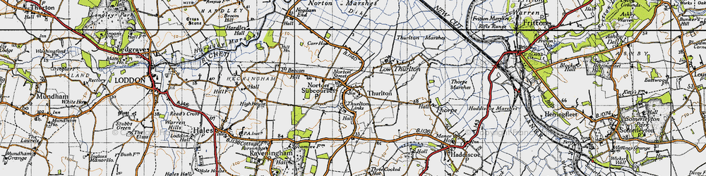 Old map of Thurlton in 1946