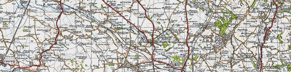 Old map of Thurlwood in 1947