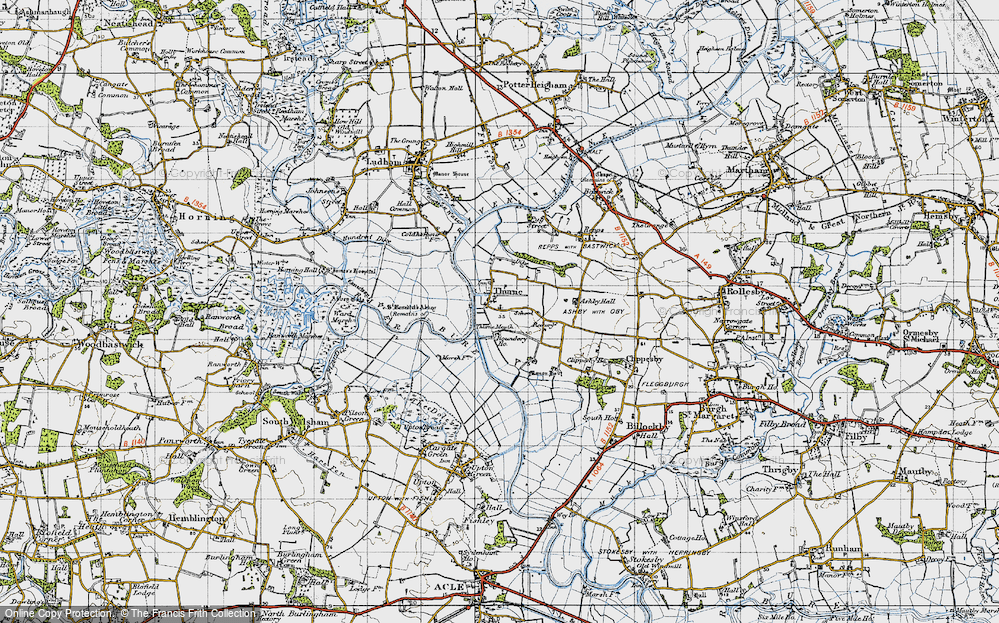 Old Map of Historic Map covering Thurne Mouth in 1945