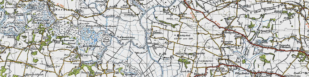 Old map of Thurne Mouth in 1945