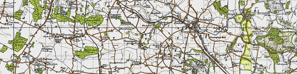 Old map of Thurning in 1946