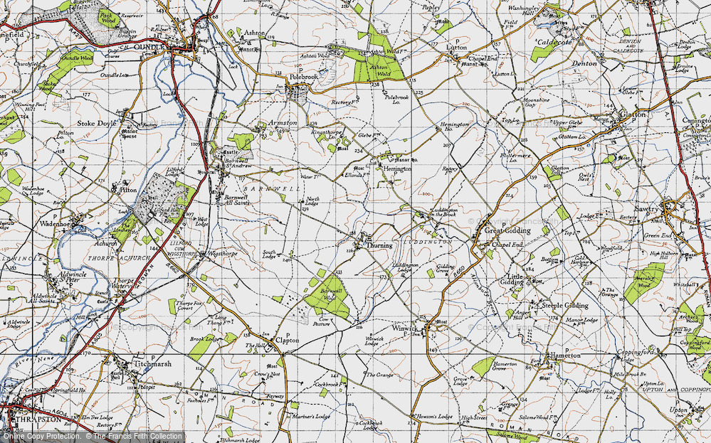 Old Map of Historic Map covering Thurning Lodge in 1946