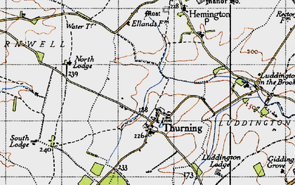 Old map of Thurning Lodge in 1946