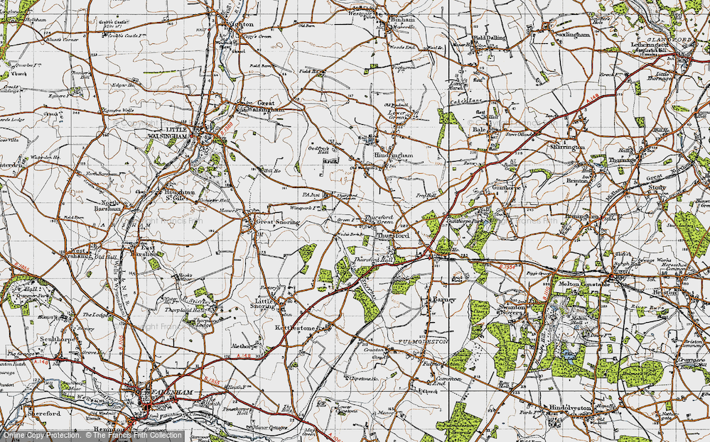 Old Map of Historic Map covering Thursford Common in 1946