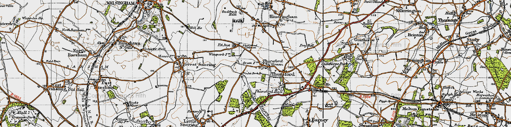 Old map of Thursford Common in 1946