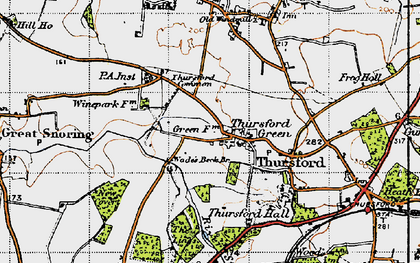 Old map of Thursford Green in 1946