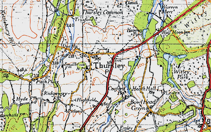 Old map of Thursley in 1940