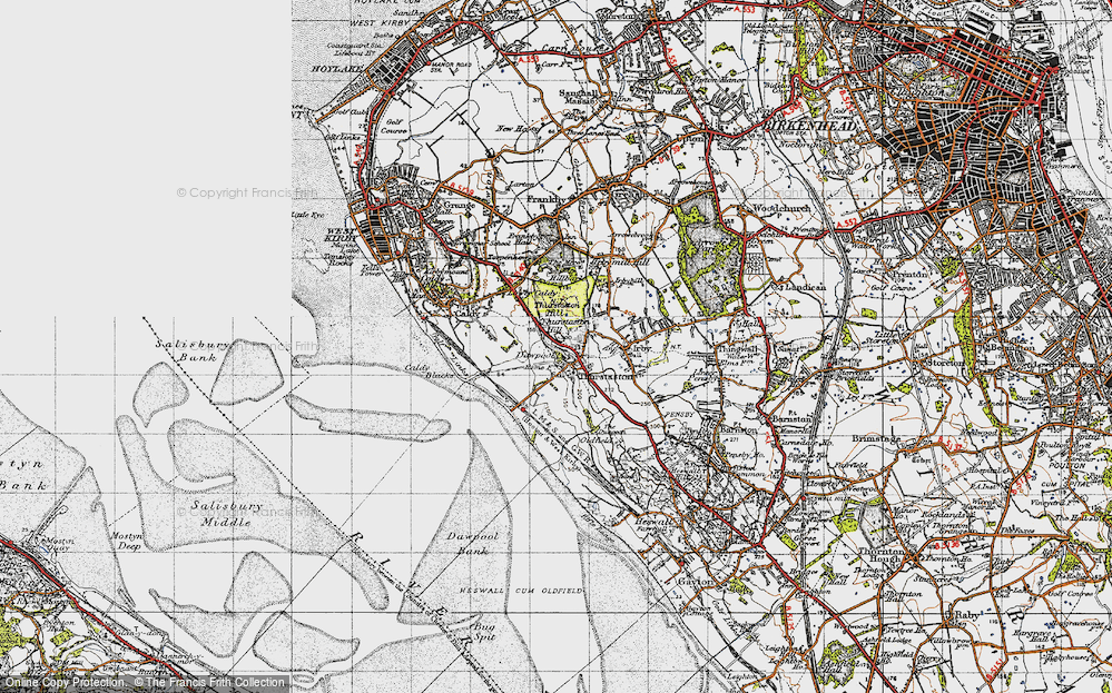 Old Map of Historic Map covering Thurstaston Common in 1947