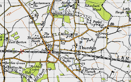 Old map of Thurston in 1946