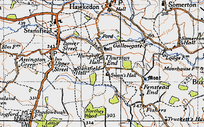 Old map of Thurston End in 1946