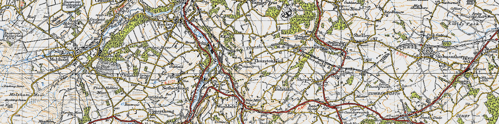 Old map of Thurstonland in 1947