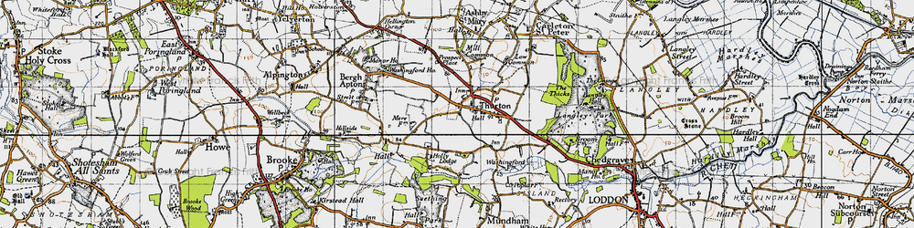 Old map of Thurton in 1946