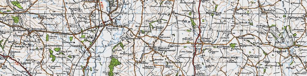 Old map of Thurvaston in 1946