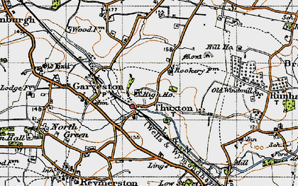 Old map of Thuxton in 1946