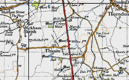 Old map of Thwaite in 1946