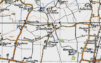 Old map of Tibenham in 1946