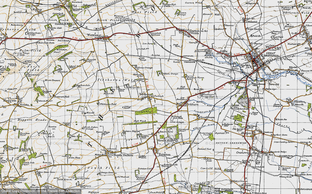Old Map of Historic Map covering Tibthorpe Manor in 1947