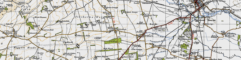 Old map of Tibthorpe Ho in 1947