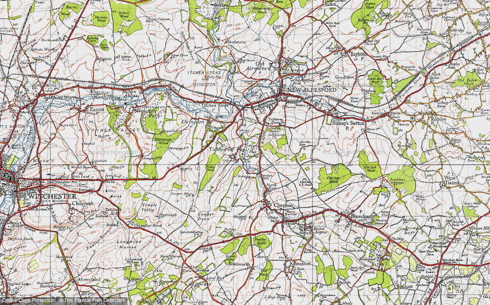 Old Map of Historic Map covering Tichborne Park in 1945