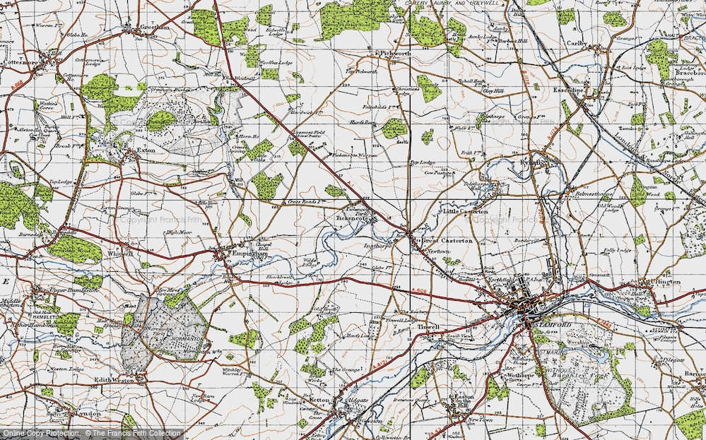 Old Map of Historic Map covering Tickencote Warren in 1946