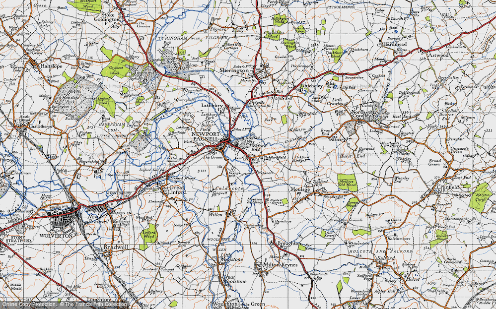 Old Map of Tickford End, 1946 in 1946