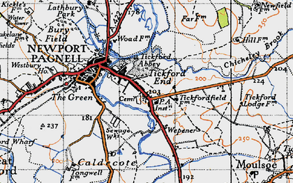 Old map of Tickford End in 1946