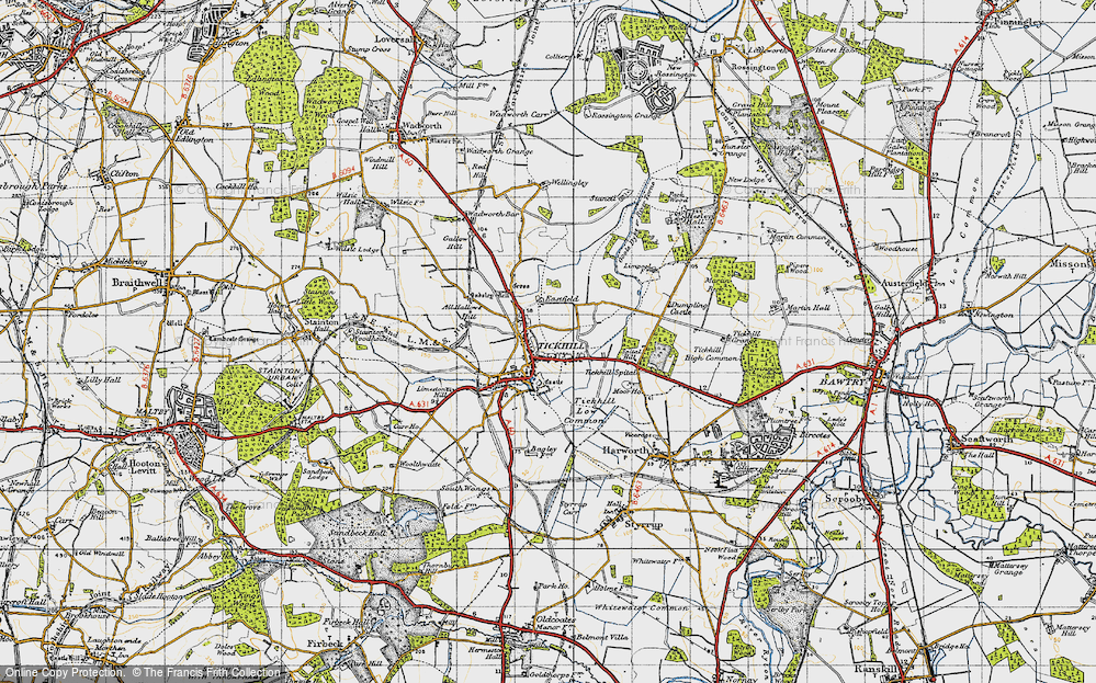 Old Map of Historic Map covering All Hallows Hill in 1947