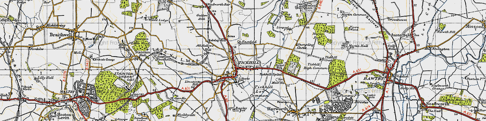 Old map of All Hallows Hill in 1947