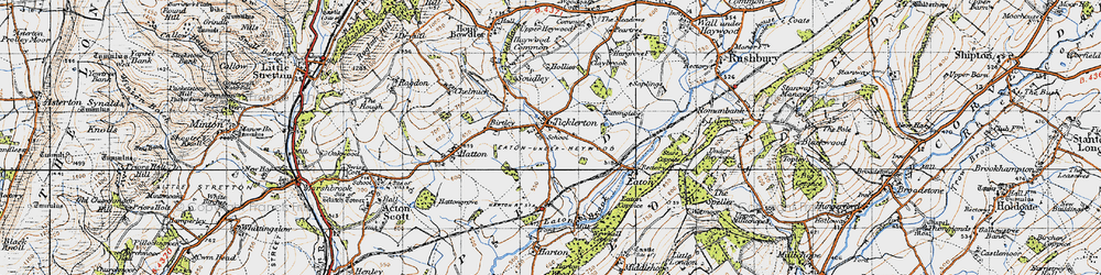 Old map of Ticklerton in 1947