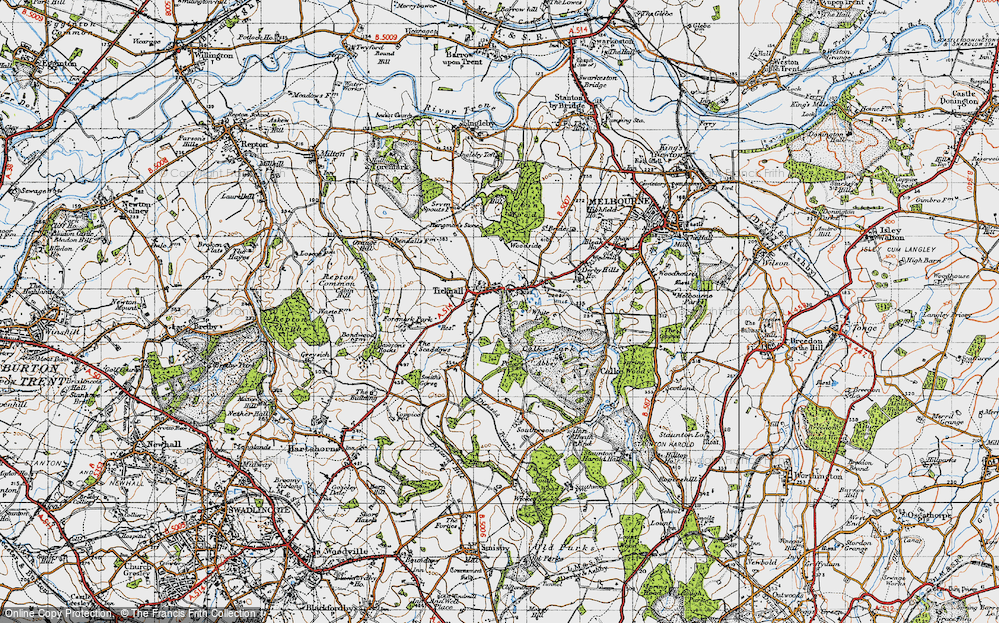 Old Map of Ticknall, 1946 in 1946
