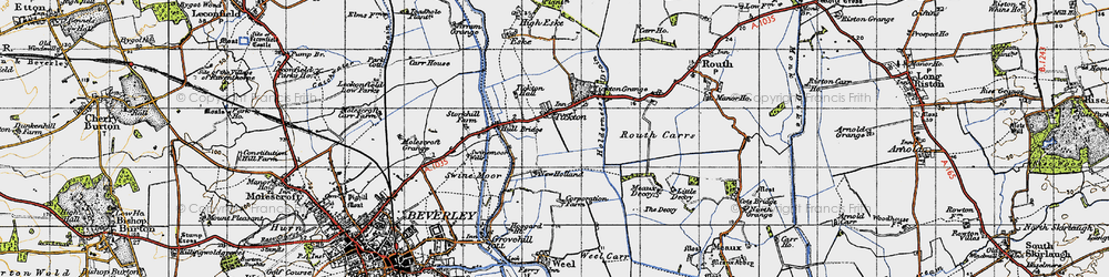 Old map of Tickton in 1947