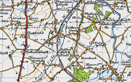 Old map of Tidbury Green in 1947
