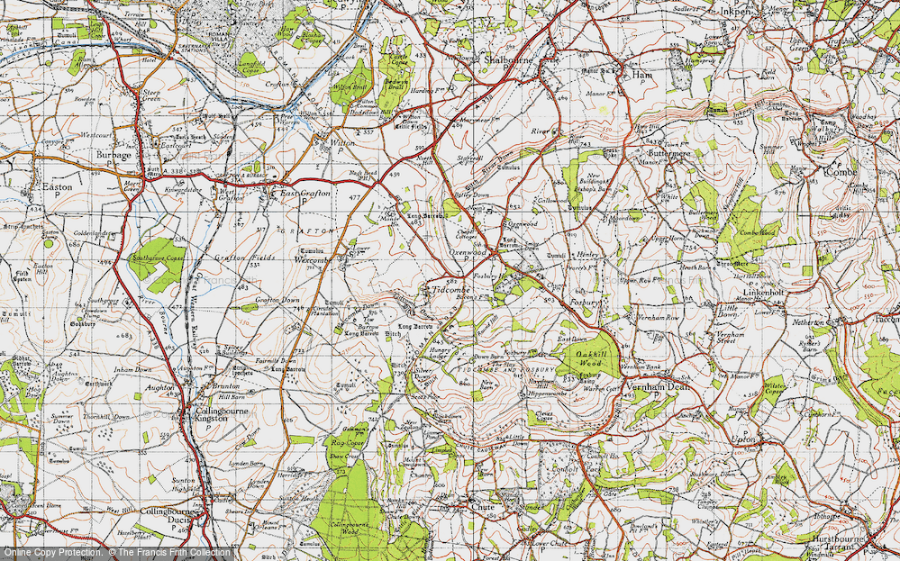 Old Map of Historic Map covering Tidcombe Down in 1940