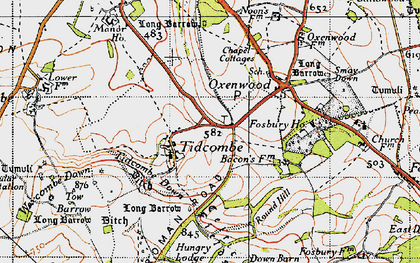 Old map of Tidcombe Down in 1940