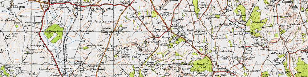 Old map of Tidcombe in 1940