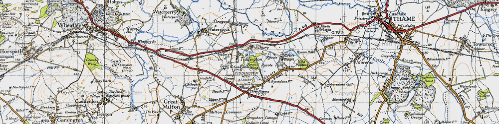 Old map of Tiddington in 1947