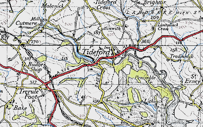 Old map of Lantallack Cross in 1946