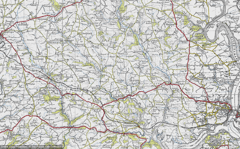 Old Map of Tideford Cross, 1946 in 1946